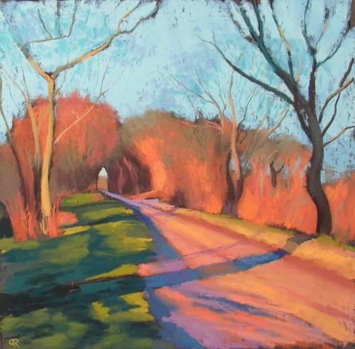 Lane on the Wolds, evening sun